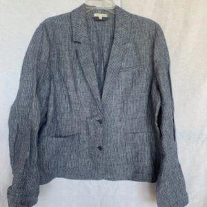 Eileen Fisher Blue Striped Linen Blazer